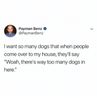 "Come Over, Dogs, and Goals: Payman Benz  @PaymanBenz  I want so many dogs that when people  come over to my house, they'll say  Woah, there's way too many dogs in  here."" goals"