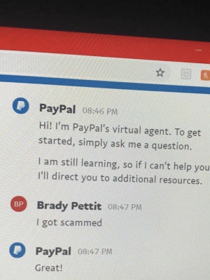 me_irl : me_irl: PayPal 08:46 PM  Hi! I'm PayPal's virtual agent. To get  started, simply ask me a question.  I am still learning, so if I can't help you  I'll direct you to additional resources.  Brady Pettit 08:47 PM  I got scammed  BP  PayPal o8:47 PM  Great! me_irl : me_irl