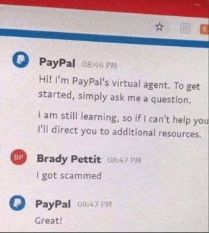 Such intelligence, much artificial: PayPal 08:46 PM  Hi! I'm PayPal's virtual agent. To get  started, simply ask me a question.  I am still learning, so if I can't help you  I'll direct you to additional resources  Brady Pettit 08:47 PM  I got scammed  PayPal 08:47 PM  Great! Such intelligence, much artificial
