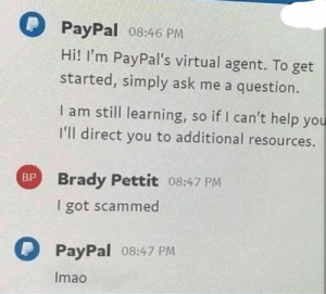It do be like that: PayPal 08:46 PM  Hi! I'm PayPal's virtual agent. To get  started, simply ask me a question.  I am still learning, so if I can't help you  I'll direct you to additional resources.  BP Brady Pettit 08:47 PM  got scammed  PayPal 08:47 PM  Imao It do be like that