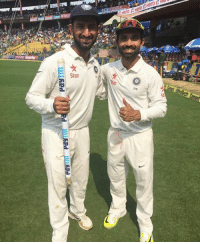 Memes, 🤖, and Hero: payrm Payrm-p  Pay TTT.  IF  Hero 1: He  iiiltmen  Star  278 Partners in prime in the second innings Cheteshwar Pujara and Ajinkya Rahane strike a pose for the camera #TeamIndia #INDvAUS