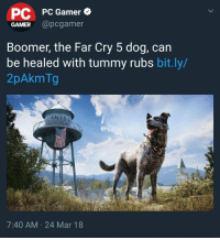 "Best, Game, and Far Cry: PC  GAMER @pcgamer  PC Gamer  Boomer, the Far Cry 5 dog, can  be healed with tummy rubs bit.ly/  2pAkmTg  7:40 AM 24 Mar 18 <p>Best game via /r/wholesomememes <a href=""https://ift.tt/2pCI5Do"">https://ift.tt/2pCI5Do</a></p>"