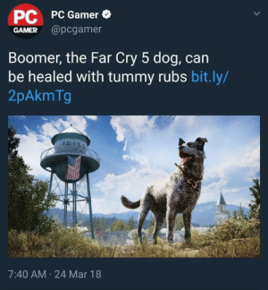 Tumblr, Video Games, and Blog: PC  GAMER @pcgamer  PC Gamer  Boomer, the Far Cry 5 dog, can  be healed with tummy rubs bit.ly/  2pAkmTg  FAL U'S  7:40 AM 24 Mar 18 pattern-53-enfield:Video Games Are Saved