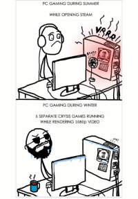 Gaming Pictures: PC GAMING DURING SUMMER  WHILE OPENING STEAMM  PC GAMING DURING WINTER  5 SEPARATE CRYSIS GAMES RUNNING  WHILE RENDERING 1080p VIDEO  RR?  fE)