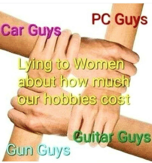 The Meme Lord.: PC Guys  Car Guys  Lying to Women  about how mtieh  our hobbies cost  Guitar Guys  Gun Guys The Meme Lord.