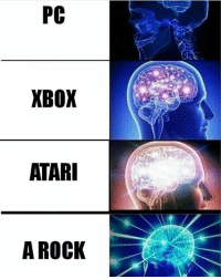 Dank, Dope, and Internet: PC  XBOX  ATARI  A ROCK I had 30 seconds to post this meme, I hope I cropped it fine - Liked the memes? Turn on my post notifications for quick laughs 🤘🏼 Dope gaming store- @gamersdelivery Backup- @memerzone - Tags (Ignore) 🚫 GamingPosts CallOfDuty Memes Cod codww2 Gaming Tumblr FunnyPosts Xbox LMAO Playstation XboxOne Internet Selfie CSGO Gamer SelenaGomez Follow Dank Meme Spongebob Like YouTube Relatable Memes DankMemes