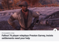 Preston Garvey: PCGAMER.COM  Fallout 76 player roleplays Preston Garvey, insists  settlements need your help