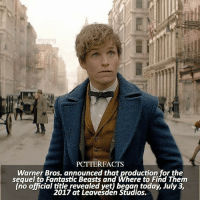Memes, News, and Snitch: PCTTERFACTS  Warner Bros. announced that production for the  sequel to Fantastic Beasts and Where to Find Them  (no official title revealed yet) began today, July 3,  2017 at Leavesden Studios. NEWS | Snitch Seeker ⠀⠀⠀⠀⠀⠀⠀⠀⠀⠀⠀⠀⠀ — Quick thank you to those who suggested so many ships yesterday on my post, I started drawing Nuna so that'll be done in the next few days. ⠀⠀⠀⠀⠀⠀⠀⠀⠀⠀⠀⠀⠀ — Q: Who's your favorite Fantastic Beasts character?