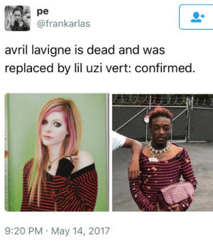 Girl, Avril Lavigne, and Uzi: pe  @frankarlas  avril lavigne is dead and was  replaced by lil uzi vert: confirmed  9:20 PM May 14, 2017 i want a skater girl ayi said see ya later girl ay