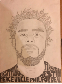 J. Cole, Memes, and 🤖: pE  LOVE YUI  RbNMEDBLnee  Yu  ime NOETTIER  &MORE  ALonntg00  stt i#52)HTC  ans  FEELIN  NICE WITCH  WTHEAS  750  PEACE UNCLE PHILFORRE A picture of J. Cole drawn entirely out of his lyrics