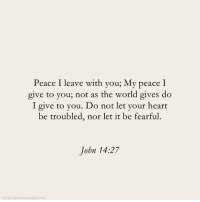 let it be: Peace I leave with you; My peace I  give to you; not as the world gives do  I give to you. Do not let your heart  be troubled, nor let it be fearful.  John 14:27  THESOVEREIGNWORDORG