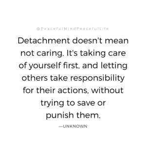 Mean, Responsibility, and Them: @PeacefulMindPeacefullife  Detachment doesn't mean  not caring. It's taking care  of yourself first, and letting  others take responsibility  for their actions, without  trying to save or  punish them  ーUNKNOWN
