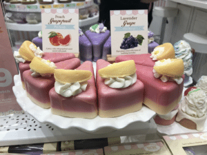 Created to entice: Peach  Grapepuit  Lavender  Grape  Pie Soap  Pie Soap  A juicy, ruby red grapefruit scent  mixed with peach  Ripe grape scent with hints of  soothing lavendar  atch  alty soaps  made with  SLS  Sweet by Nataree, Hand  NECTAR  DATH TRAES  ECTAR  iatars, Handrade with Enve Created to entice