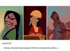 Disney, Villains, and Disney Characters: peachmuff:  Disney characters face swapped with their corresponding villains. Disney characters face swapped with their corresponding villains