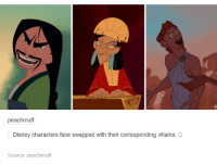 Disney, Funny, and Face Swap: peachmuff:  Disney characters face swapped with their corresponding villains.  Source: peachmuff