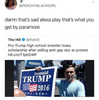 oh: @PEACHYBLACKGORL  damn that's sad alexa play that's what you  get by paramore  The Hill e》 @thehill  Pro-Trump high school wrestler loses  scholarship after yelling anti-gay slur at protest  hill.cm/T1pKGWP  WARDENS  Donald  TRUMP  2016 oh