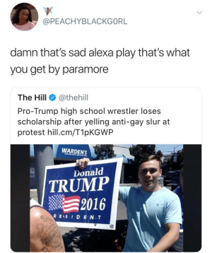 Donald Trump, Protest, and School: @PEACHYBLACKGORL  damn that's sad alexa play that's what  you get by paramoree  The Hill @thehill  Pro-Trump high school wrestler loses  scholarship after yelling anti-gay slur at  protest hill.cm/T1pKGWP  WARDEN'S  Donald  TRUMP  2016  RES I D E N.T