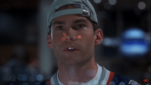 In Final Destination (2000), the Volée 180 flight passes Billy Hitchcock's head in a way almost identical to his half decapitation right before it explodes.: PEAD  MEAT In Final Destination (2000), the Volée 180 flight passes Billy Hitchcock's head in a way almost identical to his half decapitation right before it explodes.