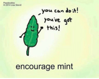 We all need some encouragemint from thyme to thyme.: Peadoodles  2014 Lisa Slavid  you can do it!  Youve got  this!  encourage mint We all need some encouragemint from thyme to thyme.