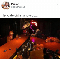 Omg, Smh, and Date: Peanut  @BIGPeanut  Her date didn't show up... omg... how could you stand her up... smh 😔