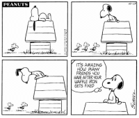 This strip was published on October 17, 1970. Happy National Waffle Day!: PEANUTS  10-17  IT'S AMAZING  HOW MANY  FRIENDS YOU  HAVE AFTER YOUR  WAFFLE IRON  GETS FIXED  ti This strip was published on October 17, 1970. Happy National Waffle Day!