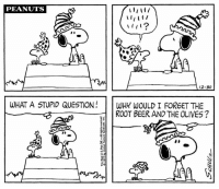 Beer, Memes, and Snoopy: PEANUTS  A 12-30  WHAT A STUPID QUESTION  WHY WOULD I FORGET THE  ROOT BEER AND THE OLIVES? 🎉🎈🎊 Happy New Year's Eve! The Museum is open from 10:00am - 4:00pm today for our annual New Year's Eve celebration with Snoopy. Ring in the New Year early with Balloon Drops & Root Beer Toasts at Noon and 3:00 pm! This strip was published on December 30, 1972.