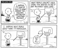 This strip was published on December 23, 1971. 🎁📭: PEANUTS  MOST PEOPLE WOULDN'T CHECK  EVERY FIVE MINUTES TO SEE IF  I SUPPOSE  ITS KIND OF  ANY PACKAGES HAVE COME  SILLY TO HANG  c AROUND THE  MAILBOX  WAITING FOR  CHRISTMAS  PACKAGES  12-23  I SUPPOSE MOST PEOPLE  WOULD THINK IT'S RIDICULOUS  NOT  AT  ALL!  m Rew US Pat Off -All rights reserved  1971 by  end Feature Syndi ate, In: This strip was published on December 23, 1971. 🎁📭