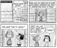 "Best Friend, Friends, and Memes: PEANUTS  RAIN! G00D  GRIEF!  HOW CAN 4OU HAVE FUN AT CAMP  WITH DORKY WEATHER LIKE THIS?  I WONDER HOW CHUCK IS DOING ?  DON'T CALL MEff  SIR""! WHAT KIND  OF A DORKY  KID ARE Y0U?  SIR, WHAT TIME IS LUNCH?O  DORKY?  7-20 Marcie was first introduced in Peanuts 46 years ago today in this strip published on July 20, 1971. However, her name was not revealed until later that year on October 11. 👓📚  Marcie is known for her being Peppermint Patty's best friend, loyal follower, and complete opposite. While Peppermint Patty is spontaneous, athletic, light-hearted, and a struggling student, Marcie, is more down-to-earth, studious, and despite her best efforts, far from athletic. Although they often find ways to annoy each other, their friendship never falters.   ""Marcie is one-up on Peppermint Patty in every way. She sees the truth of things, where it invariably escapes Patty. I like Marcie.""  - Charles Schulz"