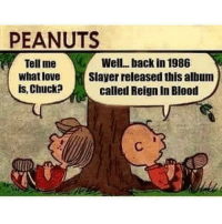 PEANUTS  Tell me  A Well, back in 1986  Whatlove  Slayer released this album  is, Chuck  called Reign In Blood