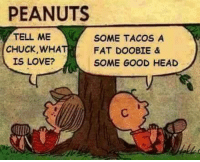 Dank, Head, and Love: PEANUTS  TELL ME  SOME TACOS A  CHUCK, WHA  FAT DOOBIE &  IS LOVE?  SOME GOOD HEAD