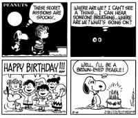 Happy Birthday to our favorite brown-eyed beagle! 🎂 🎉Snoopy celebrates his birthday on two separate dates this month. Snoopy's birthday is first celebrated in an early Peanuts strip published on August 28, 1951. Then 17 years later in this strip published on August 10, 1968, the lucky pup celebrates his special day for a second time. And, of course, if you were to ask Snoopy, EVERY day would be his birthday!: PEANUTS  THESE SECRET WHERE ARE WE? I CANTSEE  MISSIONS AREA  A THING... I CAN HEAR  SOMEONE BREATHING...WHERE  ARE WE?WHAT'S 6OING ON?  SPOOKY..  WELL, I'LL BE A  BROWN-EED BEAGLE!  8-10  ©1968 by United Feeture Syndcese, lng Happy Birthday to our favorite brown-eyed beagle! 🎂 🎉Snoopy celebrates his birthday on two separate dates this month. Snoopy's birthday is first celebrated in an early Peanuts strip published on August 28, 1951. Then 17 years later in this strip published on August 10, 1968, the lucky pup celebrates his special day for a second time. And, of course, if you were to ask Snoopy, EVERY day would be his birthday!