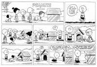 Memes, Library, and Snoopy: PEANUTS  WHAT IN  THE WORLD  IS GOING  ON OVER  THERE?  NOOA  THE HOUSE ITSELF ISNT SO  HEY! IS THERE  SURE  BIG, BUT YOU OUGHT TO GEE  COME ON  ROOM FOR ONE  THE RECREATION ROOM!  MORE? This strip published on January 31, 1954, is the first time that Snoopy's doghouse is revealed to be larger on the inside than on the outside. In later strips, we learn that the doghouse also has a pool table, a library, and artworks by famous artists such as Van Gogh and Andrew Wyeth, to name a few.