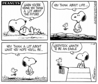 In honor of Memorial Day, here is a strip that was published on January 15, 1971. 🇺🇸: PEANUTS  WHEN YOU'RE  OUNG, YOU THINK  A LOT ABOUT  THE FUTURE  Y0U THINK ABOUT LIFE..  2  VL  -Is  YOU THINK A LOT ABOUT  WHAT YOU HOPE Y0U'LL BE..  WOODSTOCK WANTS  TO BE AN EAGLE  (d In honor of Memorial Day, here is a strip that was published on January 15, 1971. 🇺🇸