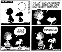 This strip was published on August 9, 1968. 🔎🐾 The secret mission continues...: PEANUTS  YOU DON'T LOOK LIKE yOURE ON  A SECRET MISSION. Y0U DONT  HAVE THE RIGHT EXPRESSION  4  5  2  THAT'S  BETTER  INEXPERIENCE!  3  8-9 This strip was published on August 9, 1968. 🔎🐾 The secret mission continues...