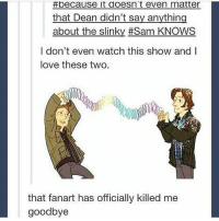 spn Supernatural spnfamily jaredpadalecki jensenackles mishacollins sam dean winchesters castiel destiel fandom ship otp: peCause it doesn't even matter  that Dean didn't say anything  about the slinky Sam KNOWS  I don't even watch this show and I  love these two.  that fanart has officially killed me  goodbye spn Supernatural spnfamily jaredpadalecki jensenackles mishacollins sam dean winchesters castiel destiel fandom ship otp