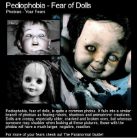 https://t.co/RpR1ab03lf: Pediophobia Fear of Dolls  Phobias Your Fears  Pediophobia, fear of dolls, is quite a common phobia. It falls into a similar  branch of phobias as fearing robots, shadows and animatronic creatures  Dolls are creepy, especially older, cracked and broken ones, but whereas  someone may shudder when looking at these pictures, those with the  phobia will have a much larger, negative, reaction.  For more of your fears check out The Paranormal Guide! https://t.co/RpR1ab03lf