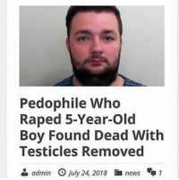 News, Dank Memes, and Old: Pedophile Who  Raped 5-Year-Old  Boy Found Dead With  Testicles Removed  & admin O July 24, 2018 news 1 Drop your w's