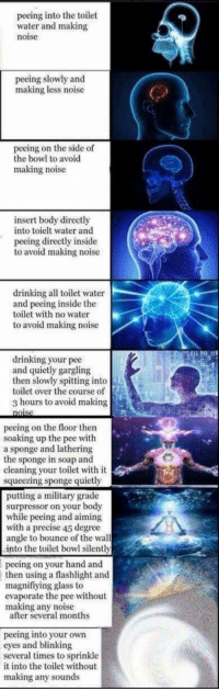 Drinking, Flashlight, and Water: peeing into the toilet  water and making  noise  peeing slowly and  making less noise  peeing on the side of  the bowl to avoid  making noise  insert body directly  into toielt water and  peeing directly inside  to avoid making noise  drinking all toilet water  and peeing inside the  toilet with no water  to avoid making noise  drinking your pee  and quietly gargling  then slowly spitting into  toilet over the course of  3 hours to avoid making  peeing on the floor then  soaking up the pee with  a sponge and lathering  the sponge in soap and  cleaning your toilet with it  squeezing sponge quietly  putting a military grade  surpressor on your body  while peeing and aiming  with a precise 45 degree  angle to bounce of the wall  into the toilet bowl silently  peeing on your hand and  then using a flashlight and  magnifiying glass to  evaporate the pee without  making any noise  after several months  peeing into your own  eyes and blinking  several times to sprinkle  it into the toilet without  making any sounds <p>We&rsquo;ve gone too far</p>