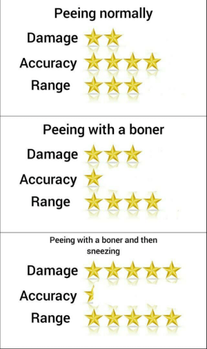 *-*: Peeing normally  Damage  Аccuracy  Range  Peeing with a boner  Damage  Аccuracy  Range  Peeing with a boner and then  sneezing  Damage  Accuracy  Range *-*