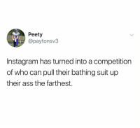 Ass, Instagram, and Dank Memes: Peety  @paytonsv3  Instagram has turned into a competition  of who can pull their bathing suit up  their ass the farthest. There's nothing wrong with a poolside wedgie you people r just haters