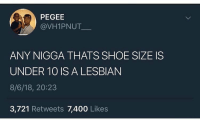 Funny, Lesbian, and Shoe: PEGEE  @VH1PNUT  ANY NIGGA THATS SHOE SIZE IS  UNDER 10 IS A LESBIAN  8/6/18, 20:23  3,721 Retweets 7,400 Likes I'm a 10.5 I'm safe