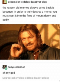 God, Meme, and Memes: pekomelon-oldblog-deactivat-blog  the reason old memes always come back is  because, in order to truly destroy a meme, you  must cast it into the fires of mount doom and  sadly  canyouclarinot  oh my god  Source: pekomelon-oldblog-deactivat-blog