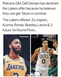 Dell, Future, and Los Angeles Lakers: Pelicans GM, Dell Demps has declined  the Lakers offer because he believes  they can get latum in summer.  The Lakers offered: Zo, Ingram,  Kuzma, Rondo, Beasley, Lance & 2  future 1st Round Picks..  @nbaontop  ELTICS  uish  AKERS Damn, the pelicans are just stupid at this point Double tap and tag a friend! - Follow @sportzmotivation for more daily posts! - Credit: @nbaontop_