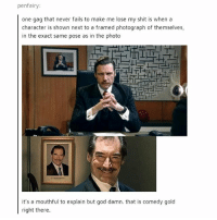 God, Memes, and Shit: penfairy:  one gag that never fails to make me lose my shit is when a  character is shown next to a framed photograph of themselves,  in the exact same pose as in the photo  it's a mouthful to explain but god damn. that is comedy gold  right there Listen, I don't know what the directors where thinking when they started doing this but they need to keep thinking it - mon texposts textpost