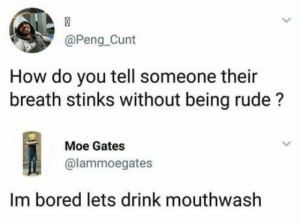 omg-humor:It smells like doodoo: @Peng_Cunt  How do you tell someone their  breath stinks without being rude?  Moe Gates  @lammoegates  Im bored lets drink mouthwash omg-humor:It smells like doodoo