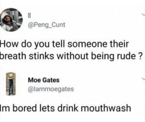 Bored, Reddit, and Rude: @Peng_Cunt  How do you tell someone their  breath stinks without being rude?  Moe Gates  @lammoegates  Im bored lets drink mouthwash Yeah, pretty much