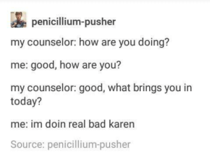 mood: penicillium-pusher  my counselor: how are you doing?  me: good, how are you?  my counselor: good, what brings you in  today?  me: im doin real bad karen  Source: penicillium-pusher mood