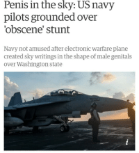 "Dank, Meme, and Http: Penis in the sky: US navy  pilots grounded over  'obscene' stunt  Navy not amused after electronic warfare plane  created sky writings in the shape of male genitals  over Washington state  500 <p>We're all 10 years old on the inside via /r/dank_meme <a href=""http://ift.tt/2mFEzcb"">http://ift.tt/2mFEzcb</a></p>"