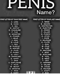 Beef, Love, and Monster: PENIS  Name?  FIRST LETTER OF YOUR FIRST NAME  A- LONG  B HARD  C-BIG  D-GIRTHY  E PLEASURE  F- FUN  G-MONSTER  H POWER  I BEAR  J-MAN  K LOVE  L-SEX  M-PURPLE  N-MISTER  O-FUCK  P PUSSY  Q UGLY  R-DANGLING  S GIANT  T-SKIN  U EXPLOSIVE  V- HULK  W BEAST  X MASSIVE  Y-IRON  2-HAIRY  FIRST LETTER OF YOUR LAST NAME  A-WAND  B-SWORD  C DESTROYER  D INJECTOR  E- SNAKE  F-KILLER  G-PUNCH  H STICK  I- KNOB  J-SAUSAGE  K- FLUTE  L-GUN  M-POLE  N-TUBE  O-MACHINE  P BEEF  Q-SCHLONG  R-TOOL  S MEAT  T- UNIT  U-HAMMER  V- SALAMI  W-STEAK  X- PECKER  Y- SHAFT  2-ROD My shit a long wand fr fr 😳😳😳