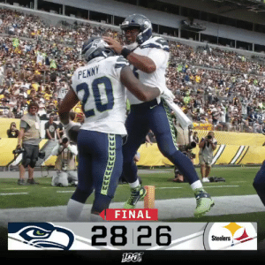 FINAL: @DangeRussWilson throws for 300 yards and 3 TDs as the @Seahawks defeat the Steelers! #SEAvsPIT https://t.co/bLKLVzqb0F: PENNY  $20  FINAL  28 26  Steelers  GAP FINAL: @DangeRussWilson throws for 300 yards and 3 TDs as the @Seahawks defeat the Steelers! #SEAvsPIT https://t.co/bLKLVzqb0F